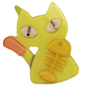 Cat and Fishbone Clip -  Green