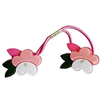 Pansy Flower  Double Ponytail - Pink