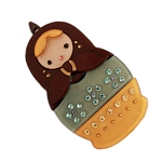 Nesting Doll Clip - Chocolate