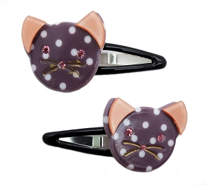 Polka Dot Cat Snap Clips - Gray
