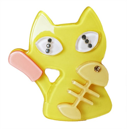 Cat and Fishbone Clip - Yellow